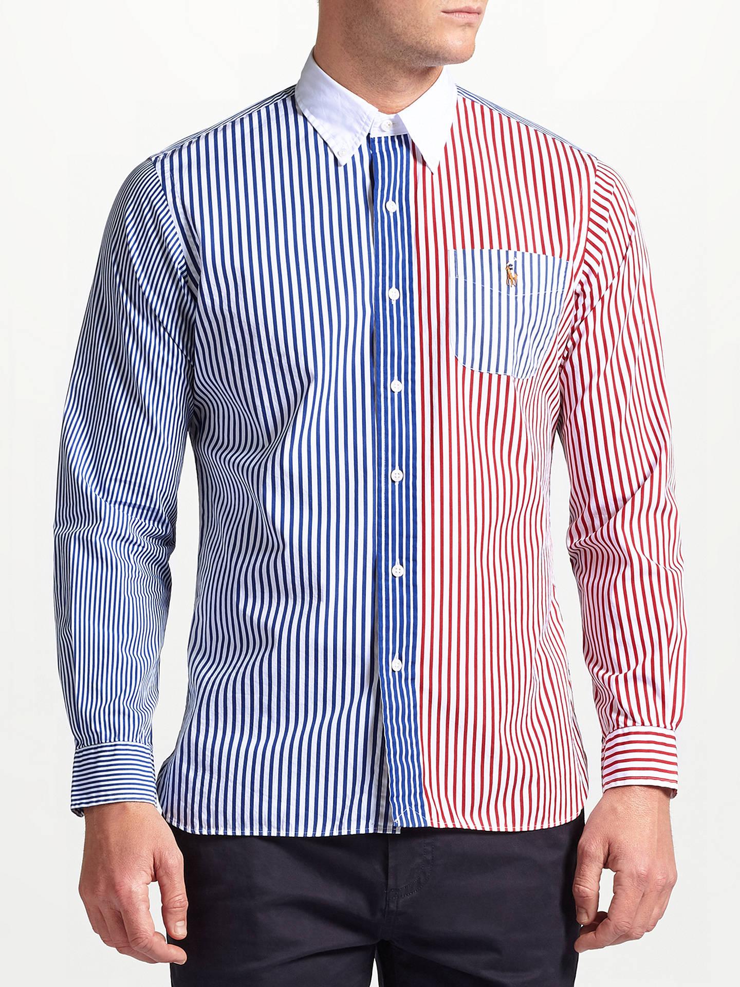 d3f12400e Buy Polo Ralph Lauren Vertical Stripe Sports Shirt, Blue/Red, S Online at  ...