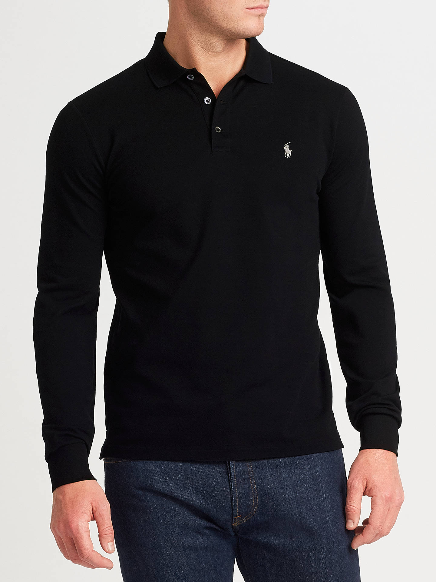 34368ace5 Buy Polo Ralph Lauren Long Sleeve Polo Top, Polo Black, XL Online at  johnlewis ...