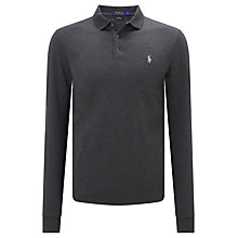 Buy Polo Ralph Lauren Slim Fit Stretch Mesh Long Sleeve Polo Shirt, Stadium Grey Heather Online at johnlewis.com