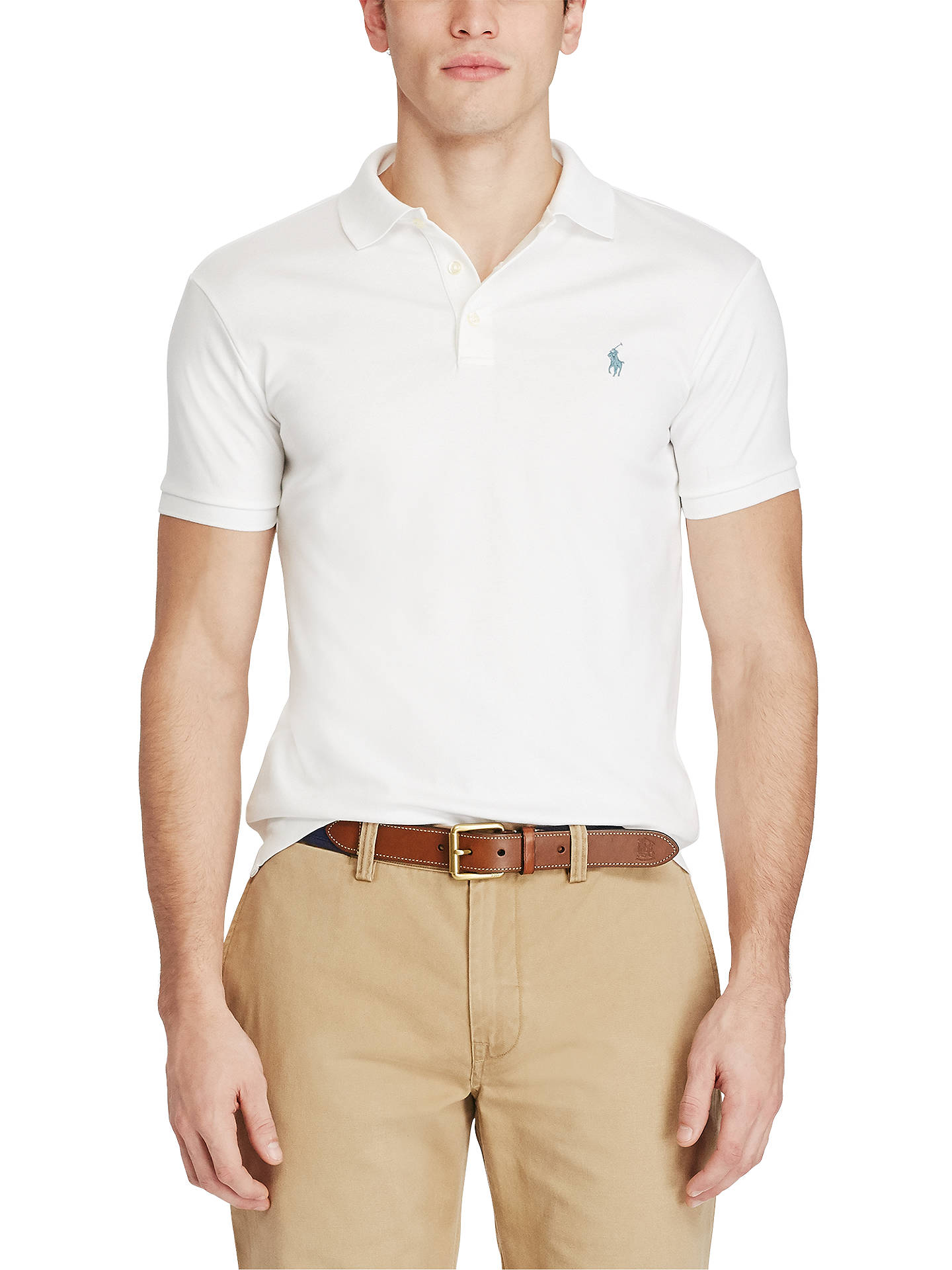 f2bea0f9 Buy Polo Ralph Lauren Short Sleeve Slim Fit Pima Polo Shirt, White, S Online  ...