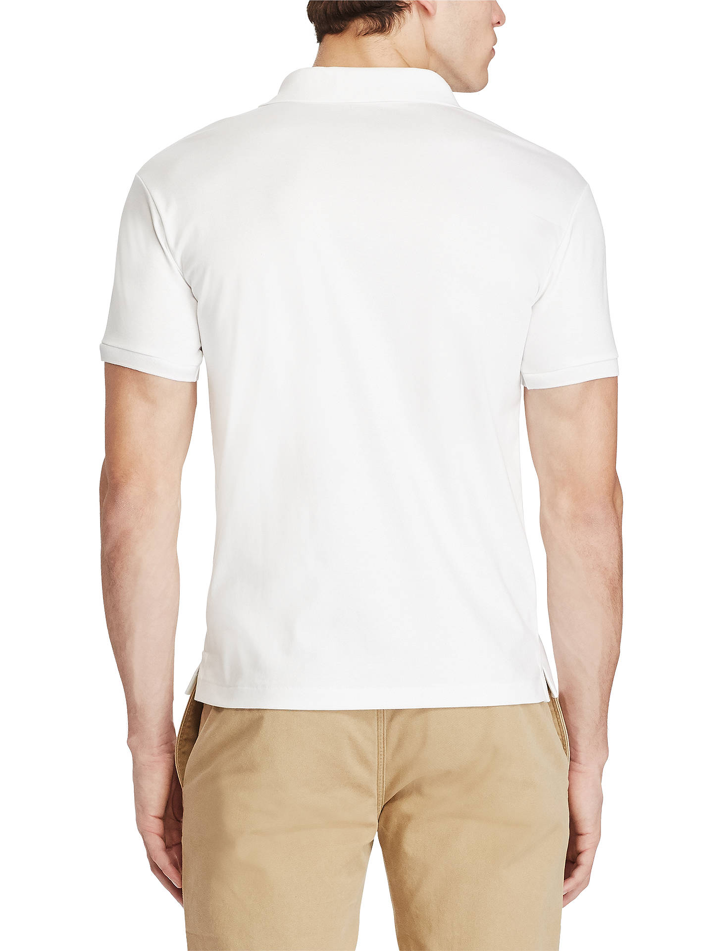 BuyPolo Ralph Lauren Short Sleeve Slim Fit Pima Polo Shirt, White, S Online at johnlewis.com