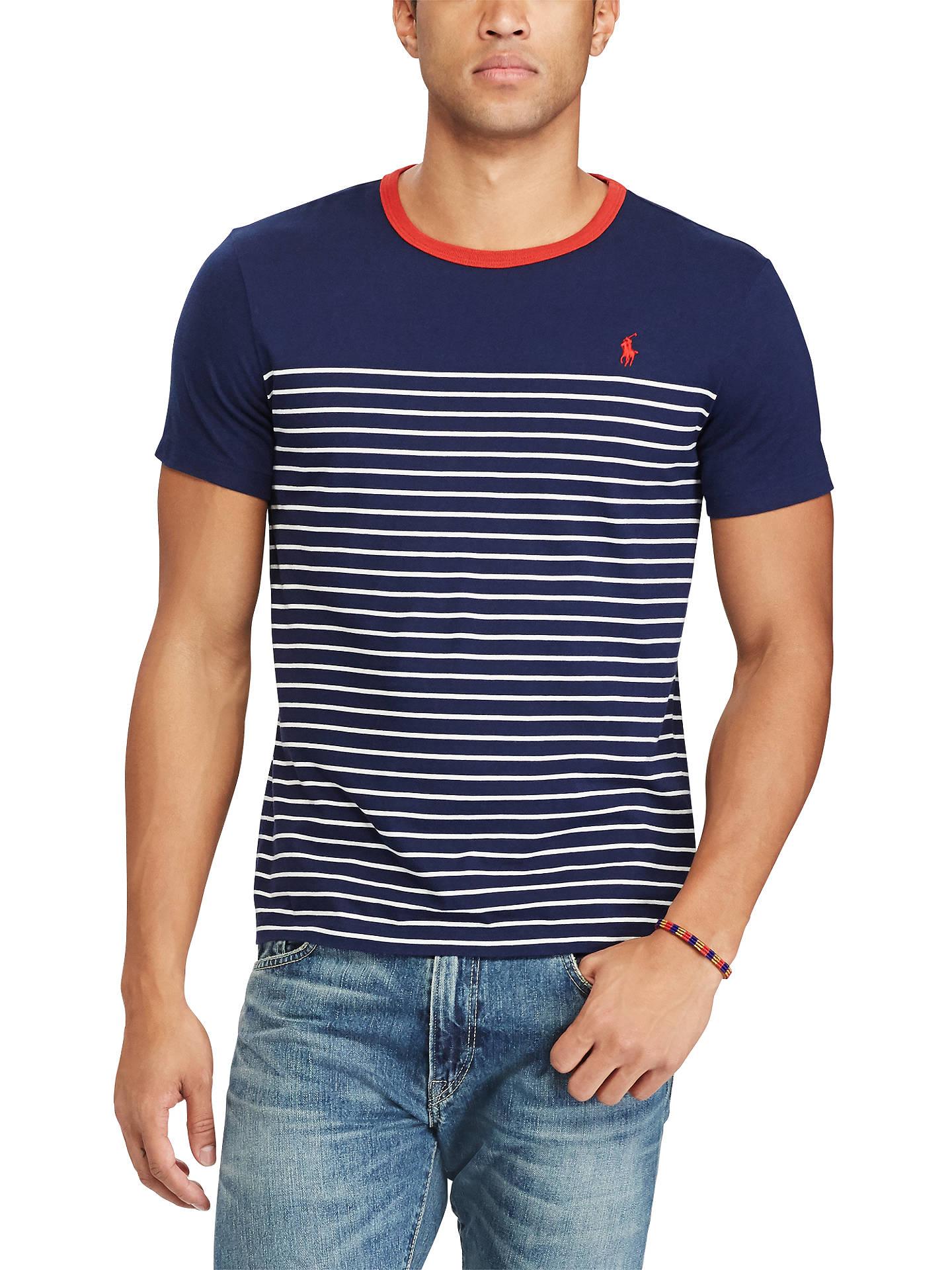 9ff386da Buy Polo Ralph Lauren Custom Slim Fit T-Shirt, Newport Navy/Nevis, ...