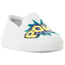 Buy Dune Elsy Sequin Slogan Slip On Trainers, White Online at johnlewis.com