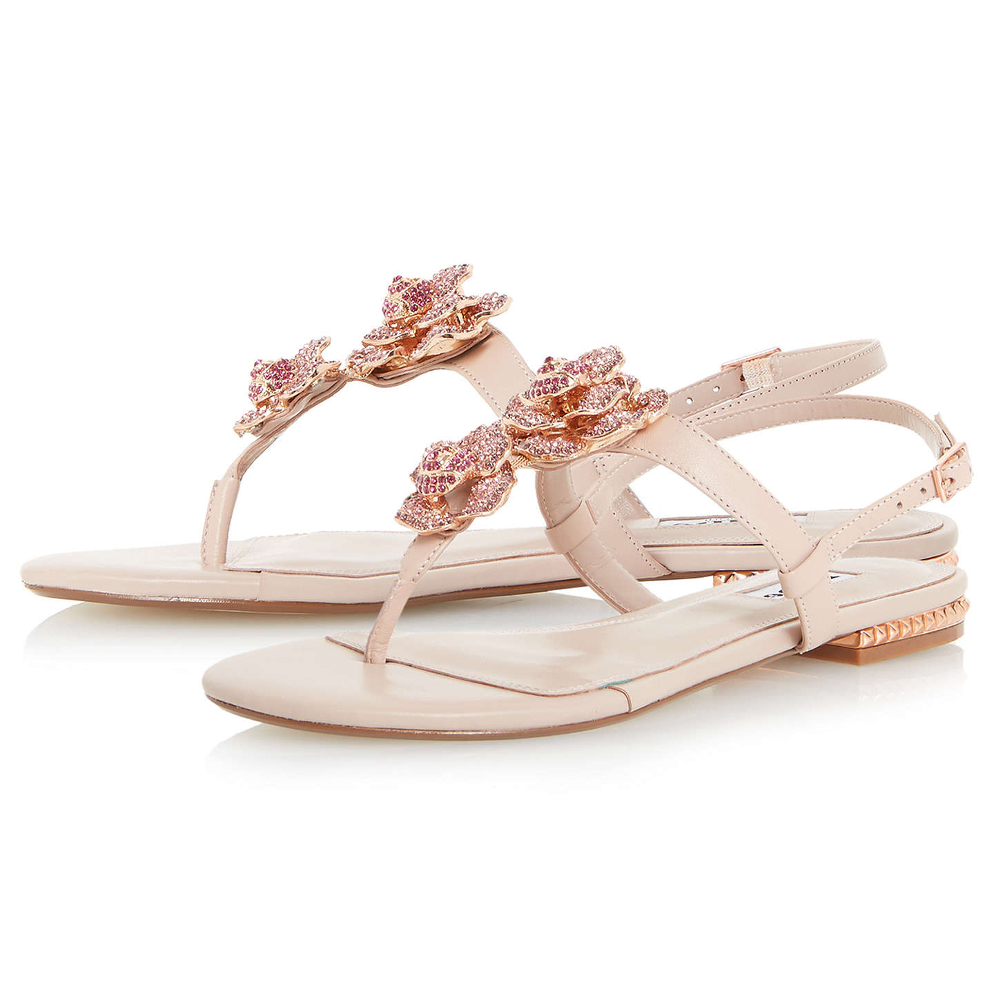 BuyDune Mulligan Floral Jewel Toe Post Sandals, Blush, 3 Online at johnlewis.com