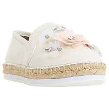 Buy Dune Glorious Embellished Flatform Espadrilles, White Online at johnlewis.com