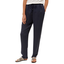 Buy Jaeger Contrast Fabric Trousers, Navy Online at johnlewis.com