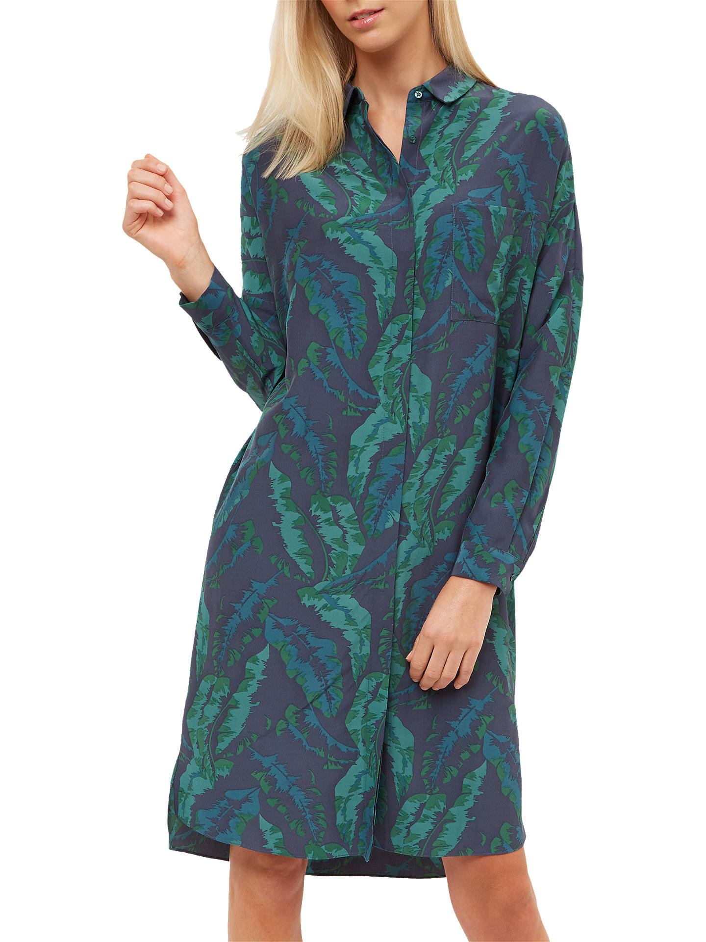 bbd7d02e2a063 Jaeger Banana Leaf Print Dress, Green at John Lewis & Partners