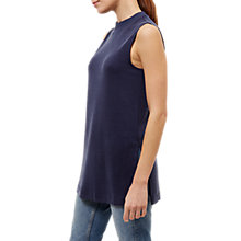 Buy Jaeger Ribbed Trim Jersey Top, Navy Online at johnlewis.com