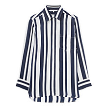 Buy Gerard Darel Stripe Chemise Silk Blouse, Blue/Beige Online at johnlewis.com