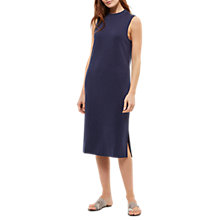 Buy Jaeger Ribbed Trim Jersey Dress, Navy Online at johnlewis.com