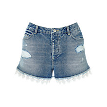 Buy Miss Selfridge Lace Trim Denim Shorts, Mid Wash Blue Online at johnlewis.com