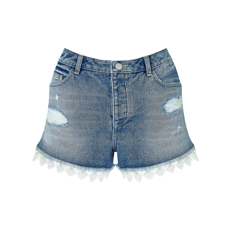 Denim Lace Trim Short - Blue Miss Selfridge R4EBYANd
