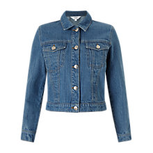Buy Miss Selfridge Cropped Denim Jacket, Blue Online at johnlewis.com