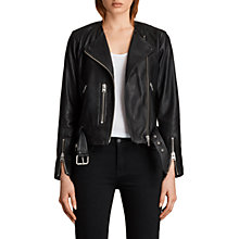 Buy AllSaints Leather Collarless Balfern Biker Jacket, Black Online at johnlewis.com