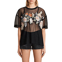 Buy AllSaints Keela Floral Appliqué T-Shirt, Black Online at johnlewis.com