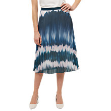 Buy Jaeger Ombré Print Pleated Skirt, Blue/Multi Online at johnlewis.com