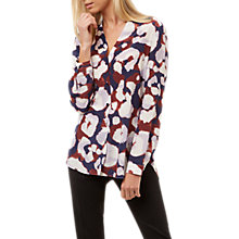 Buy Jaeger Leopard Print Silk Blouse, Blue/Multi Online at johnlewis.com