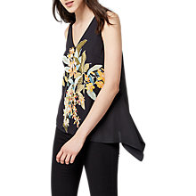 Buy Warehouse Tropical Garden Print Top, Black Online at johnlewis.com