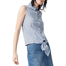 Buy Warehouse Stripe Linen Blend Shirt, Blue Online at johnlewis.com