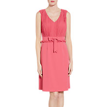 Buy Gina Bacconi Crepe Dress With Pleated Chiffon Bodice, Coral Red Online at johnlewis.com