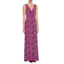 Buy Gina Bacconi Floral Print Jersey Maxi Dress, Grey/Pink Online at johnlewis.com