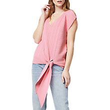 Buy Warehouse Multi Rib Tie Hem Top, Light Pink Online at johnlewis.com