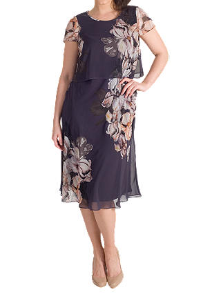 Buy Chesca Floral Print Layered Chiffon Dress, Hyacinth, 14 Online at johnlewis.com