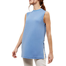 Buy Jaeger Ribbed Trim Jersey Top, Blue Online at johnlewis.com