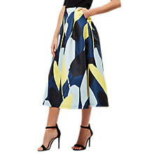 Buy Jaeger Graphic Floral Print Skirt, Blue/Multi Online at johnlewis.com