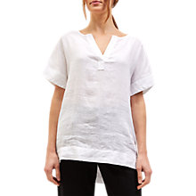 Buy Jaeger Linen Split Sleeve T-Shirt, White Online at johnlewis.com