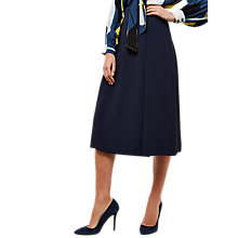 Buy Jaeger Pleat Front Fluted Midi Skirt, Navy Online at johnlewis.com