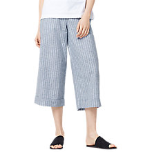 Buy Warehouse Stripe Linen Blend Cropped Trousers, Blue Online at johnlewis.com