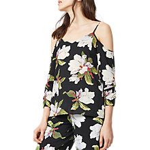 Buy Warehouse Magnolia Split Sleeve Top, Black Online at johnlewis.com