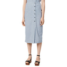 Buy Warehouse Stripe Linen Blend Skirt, Blue Online at johnlewis.com