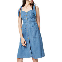 Buy Warehouse Tie Strap Pocket Dress, Light Wash Denim Online at johnlewis.com