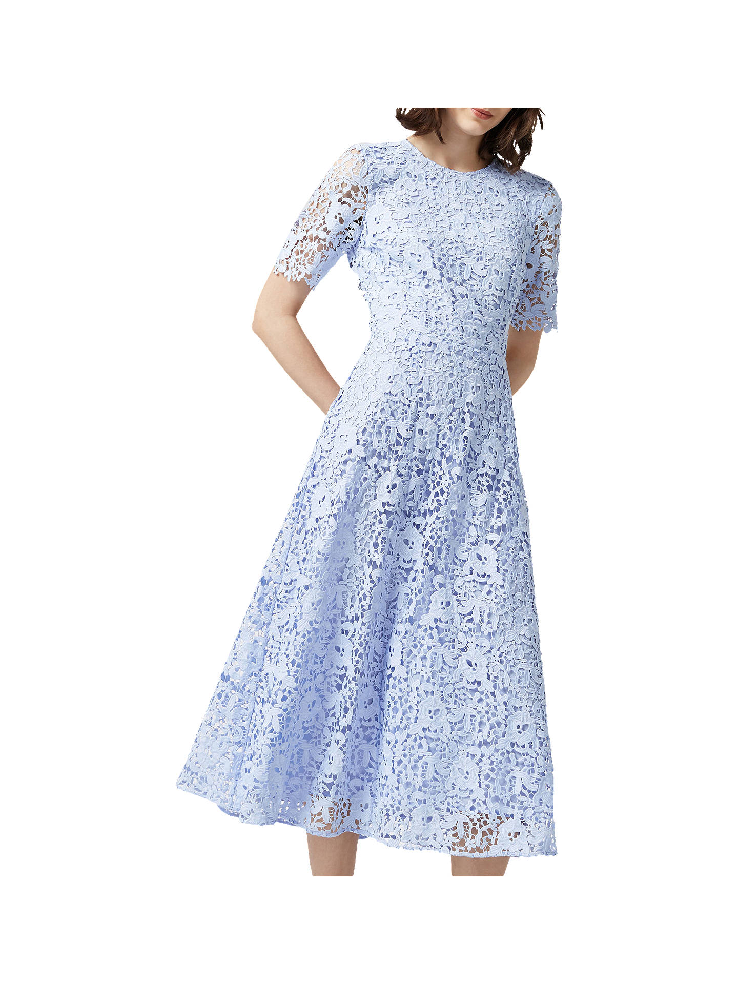 936f52417a3 Warehouse Premium Lace Midi Dress at John Lewis   Partners