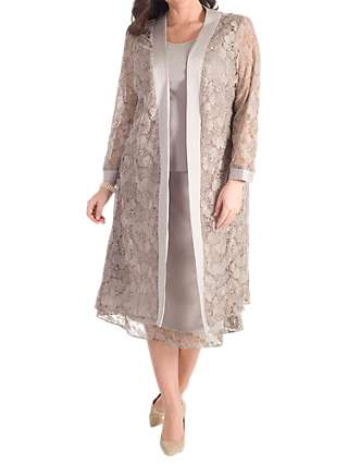 Chesca Embroidered Lace Coat, Mink