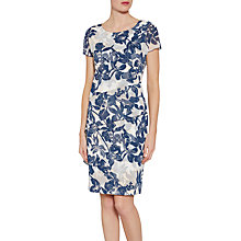 Buy Gina Bacconi Floral Print Satin Dress With Chiffon Band, Navy/Nude Online at johnlewis.com