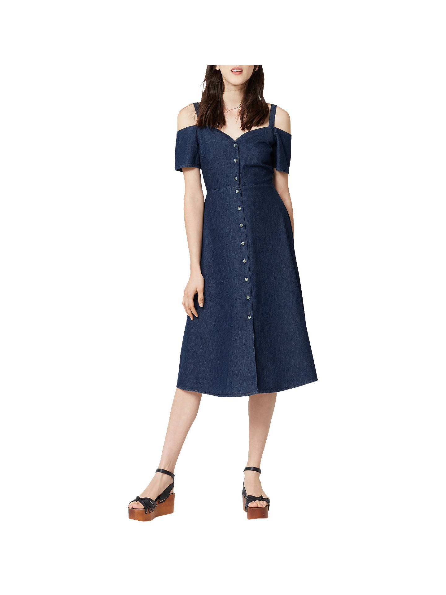 e695def08 Buy Warehouse Cut Out Dress, Mid Wash Denim, 6 Online at johnlewis.com ...