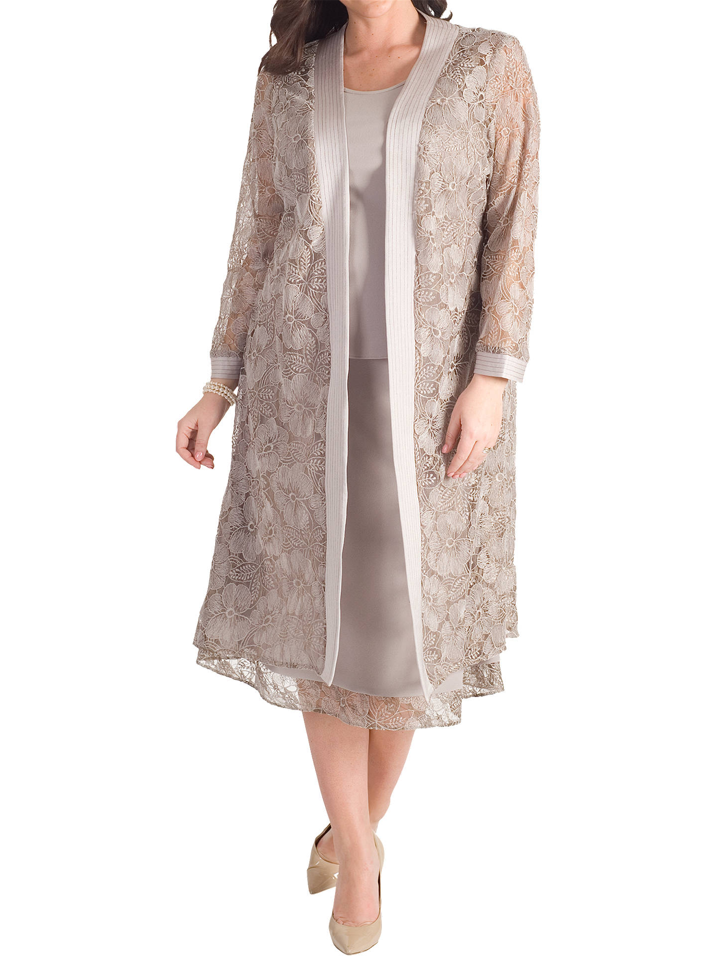 Buy Chesca Lace Trim Jersey Crepe Skirt, Mink, 12 Online at johnlewis.com