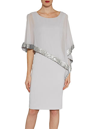 Buy Gina Bacconi Crepe Dress And Sequin Chiffon Cape, Silver Mist, 8 Online at johnlewis.com