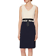 Buy Gina Bacconi Crepe Dress With Pleated Chiffon Bodice, Spring Navy/Butter Cream Online at johnlewis.com