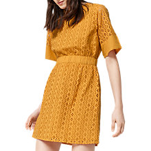 Buy Warehouse Broderie Cotton Dress, Yellow Online at johnlewis.com
