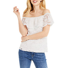 Buy Oasis Lace Bardot Top, White Online at johnlewis.com