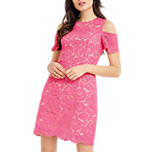 Buy Oasis Lace Cold Shoulder Dress, Mid Pink Online at johnlewis.com