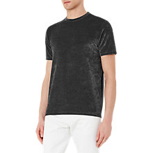 Buy Reiss Mars Velour T-Shirt, Black Online at johnlewis.com