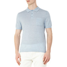 Buy Reiss Gordon Wool and Linen Polo Shirt, Soft Blue Online at johnlewis.com
