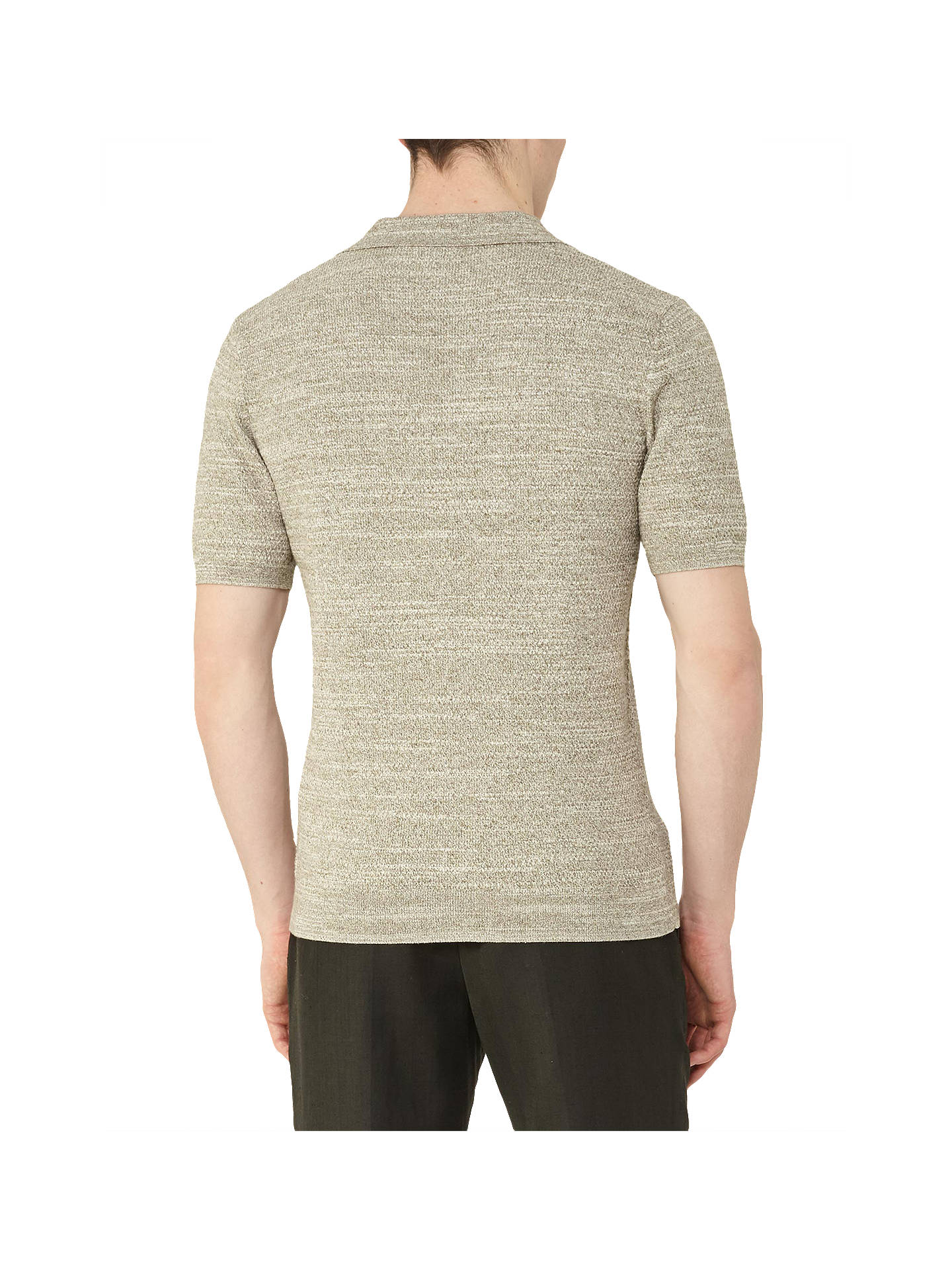 BuyReiss Rashford Textured Polo Shirt, Sage, XS Online at johnlewis.com