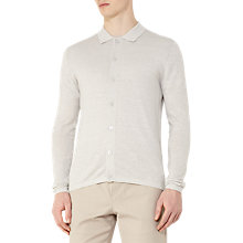 Buy Reiss Harlow Wool Linen Polo Cardigan, Soft Grey Online at johnlewis.com