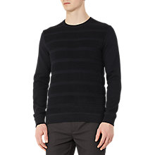 Buy Reiss Dale Textured Stripe Cotton Jumper, Navy Online at johnlewis.com